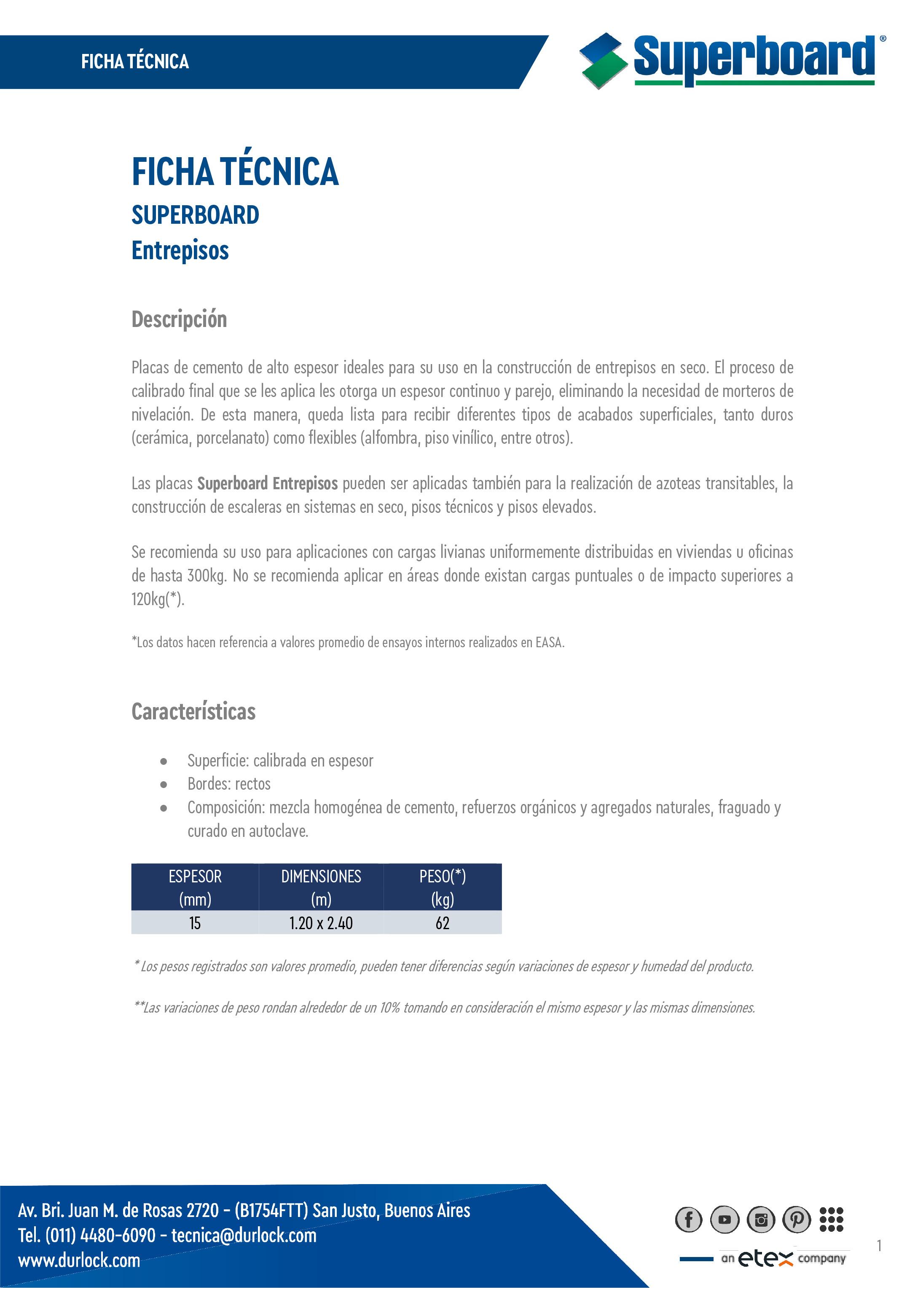 Ficha Técnica Superboard Entrepisos