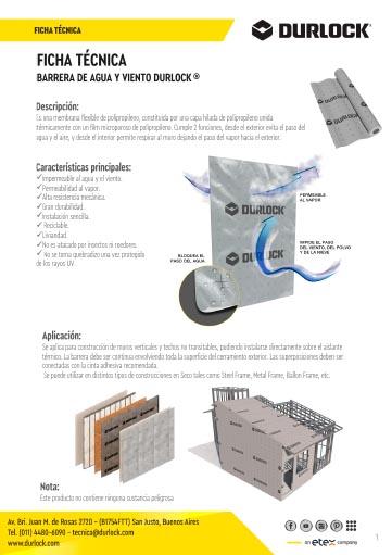 Ficha Técnica Barrera de Agua y Viento Durlock®
